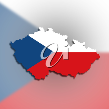 Map of The Czech Republic filled with flag, isolated