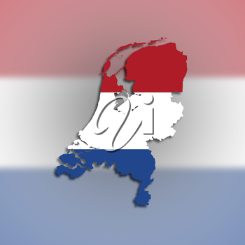 Map and flag of the Netherlands, isolated