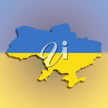 Map of the Ukraine filled with flag, isolated