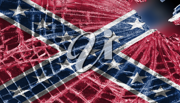 Broken ice or glass with a flag pattern, isolated, Confederate flag