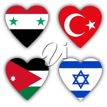 Flags in the shape of a heart, 4 different countries