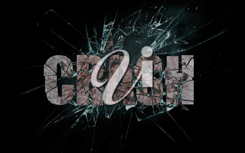 Concept of violence or crash, broken glass with the word, crash