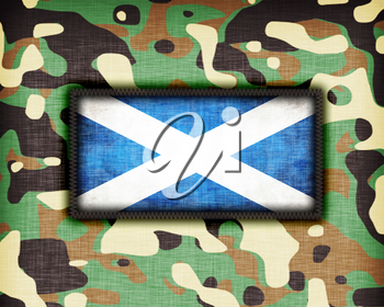 Amy camouflage uniform with flag on it, Scotland
