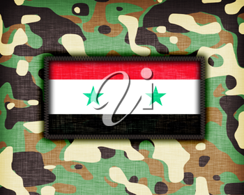 Amy camouflage uniform with flag on it, Syria