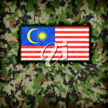 Amy camouflage uniform with flag on it, Malaysia