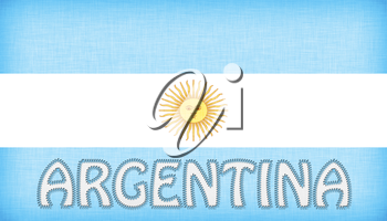 Flag of Argentina stitched with letters, isolated