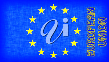Flag of the EU with letters stiched on it