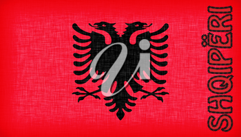 Flag of Albania stitched with letters, isolated