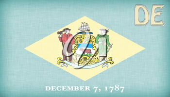 Linen flag of the US state of Delaware with it's abbreviation stitched on it