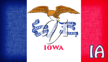 Linen flag of the US state of Iowa with it's abbreviation stitched on it