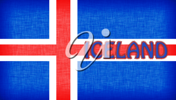 Flag of Iceland stitched with letters, isolated