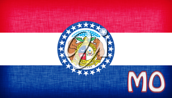 Linen flag of the US state of Missouri with it's abbreviation stitched on it