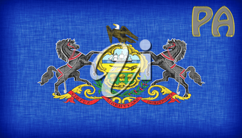 Linen flag of the US state of Pennsylvania with it's abbreviation stitched on it