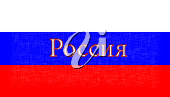Flag of Russia stitched with letters, isolated