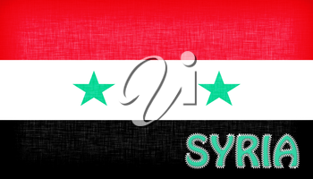 Flag of Syria with letters stiched on it