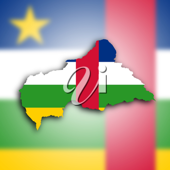 Map of the Central African Republic filled with the national flag