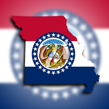 Map of Missouri, filled with the state flag