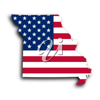 Map of Missouri, filled with the national flag