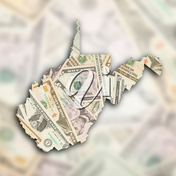Map of West Virginia, filled with many dollars