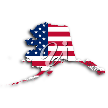 Map of Alaska, filled with the national flag