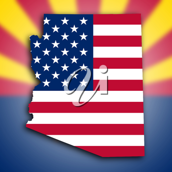 Map of Arizona, filled with the national flag