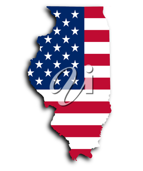 Map of Illinois, filled with the national flag