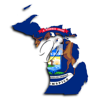 Map of Michigan, filled with the state flag