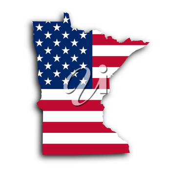 Map of Minnesota, filled with the national flag