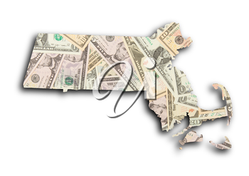 Map of Massachusetts filled with US dollars