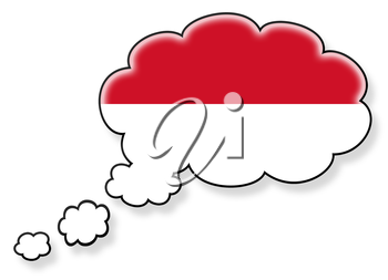 Flag in the cloud, isolated on white background, flag of Monaco