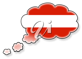 Flag in the cloud, isolated on white background, flag of Austria