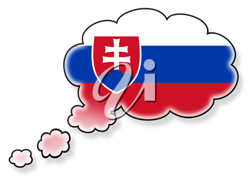 Flag in the cloud, isolated on white background, flag of Slovakia