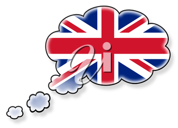 Flag in the cloud, isolated on white background, flag of the UK