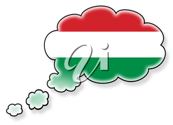 Flag in the cloud, isolated on white background, flag of Hungary