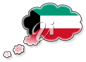 Flag in the cloud, isolated on white background, flag of Kuwait