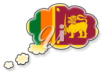 Flag in the cloud, isolated on white background, flag of Sri Lanka