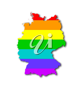 Germany - Map, filled with a rainbow flag pattern