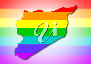 Syria - Map, filled with a rainbow flag pattern