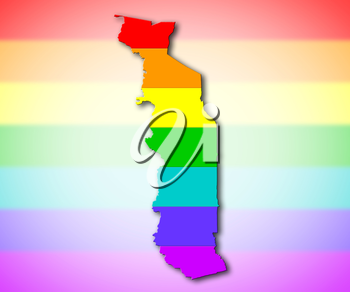 Togo - Map, filled with a rainbow flag pattern
