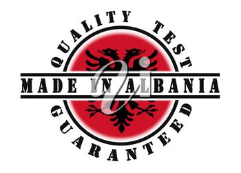 Quality test guaranteed stamp with a national flag inside, Albania