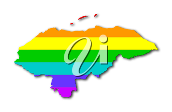 Honduras - Map, filled with a rainbow flag pattern