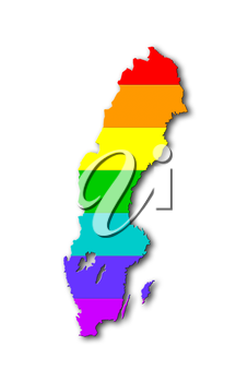 Sweden - Map, filled with a rainbow flag pattern