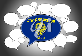 Communication concept - Speech cloud, the voice of Oregon