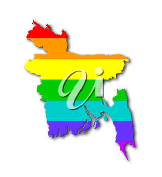 Bangladesh - Map, filled with a rainbow flag pattern