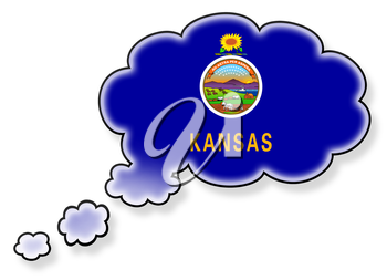 Flag in the cloud, isolated on white background, flag of Kansas