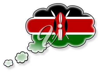 Flag in the cloud, isolated on white background, flag of Kenya