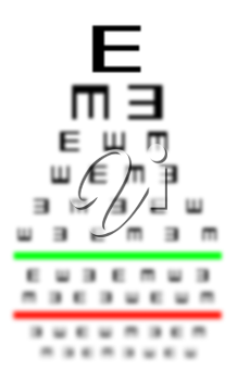 Eyesight concept - Test chart, symbols getting smaller - Bad eyesight