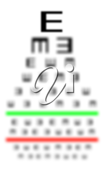 Eyesight concept - Test chart, symbols getting smaller - Really bad eyesight