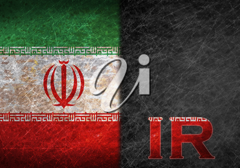 Old rusty metal sign with a flag and country abbreviation - Iran