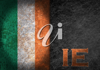Old rusty metal sign with a flag and country abbreviation - Ireland